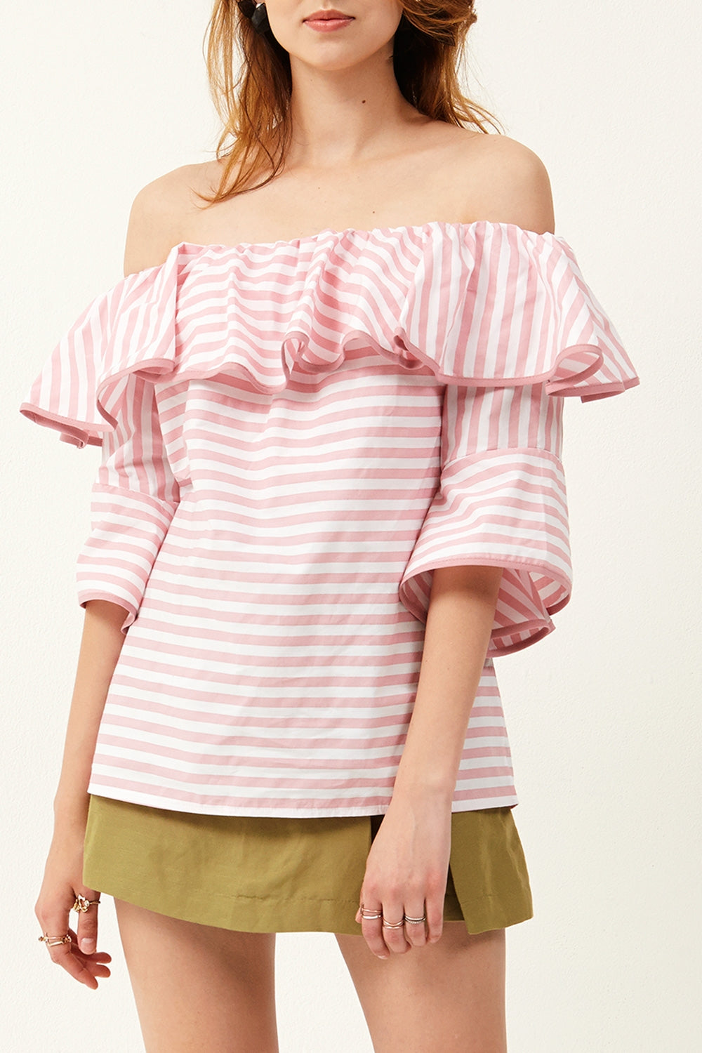 Nalia Stripe Off-the-Shoulder Top