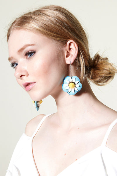 Leather Flower Earring