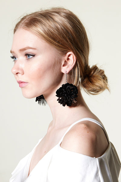 Black Flower Long Earring