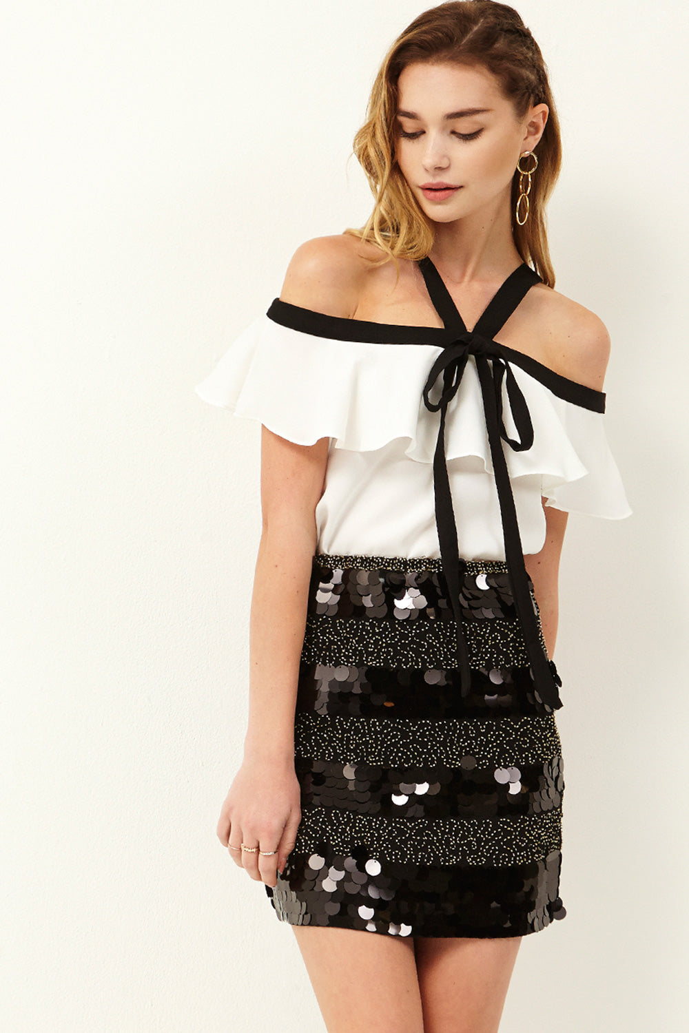 Lake Color Block Sequin Skirt