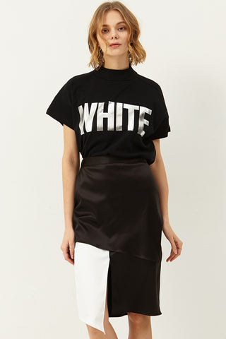 Alicia Color Block Satin Skirt