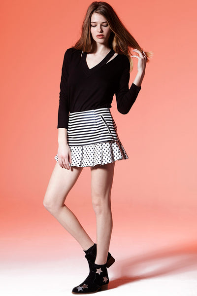 Stripes N Dots Vegan Leather Skirt