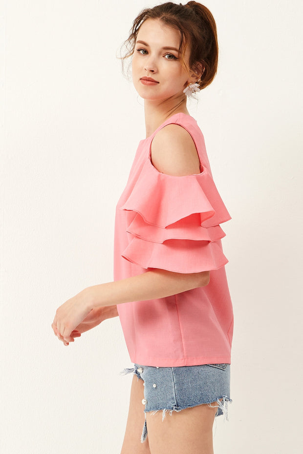 storets.com Bell Ruffle Sleeve Blouse