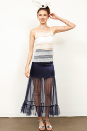 Jeven Satin Mesh Skirt