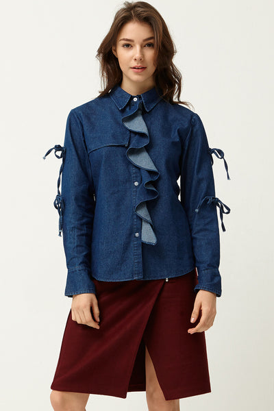 Rea Ruffle Denim Shirt