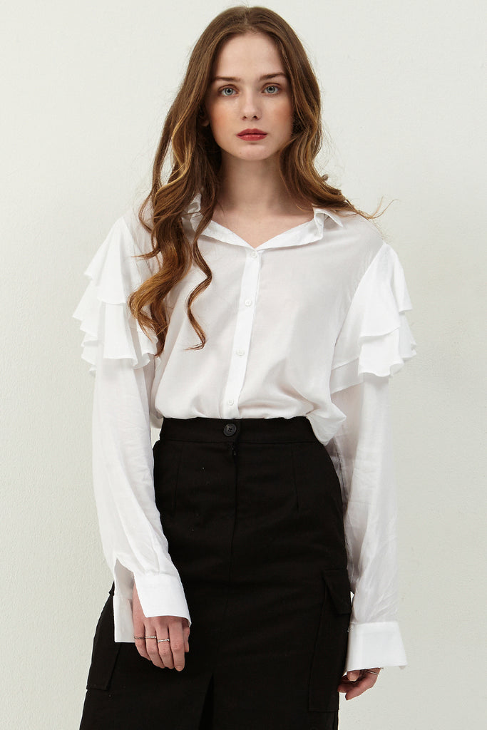 Janice Ruffle Shoulder Blouse