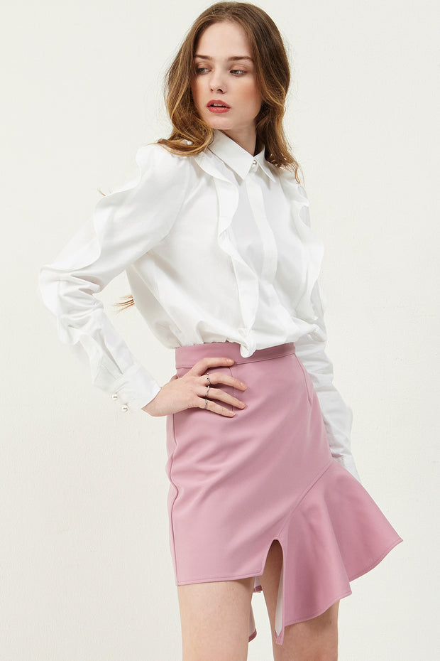 Amie Ruffle Skewed Skirt