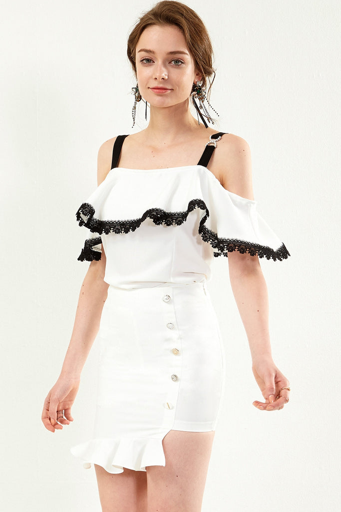 Alla Pearl Ring Shoulder Tiered Top