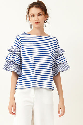 Dena Stripe Layered Sleeves Top
