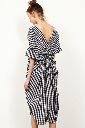 Mira Back-twisted Gingham Dress