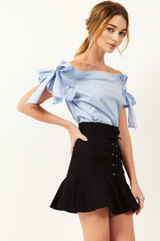 Ruth Ribbon Off-the-Shoulder Blouse