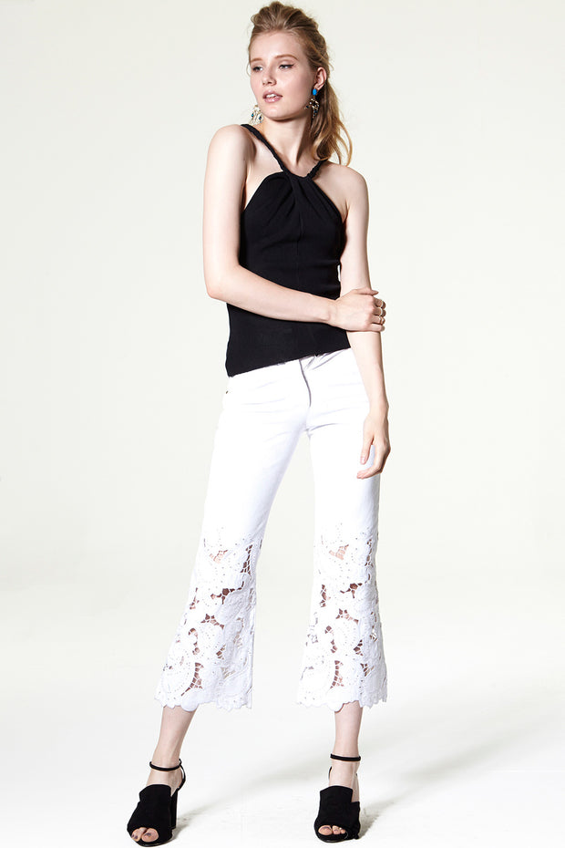 Lagina Eyelet Embroidered Flare Jeans