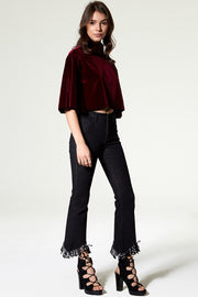 Gin Cut Out Fray Black Jeans