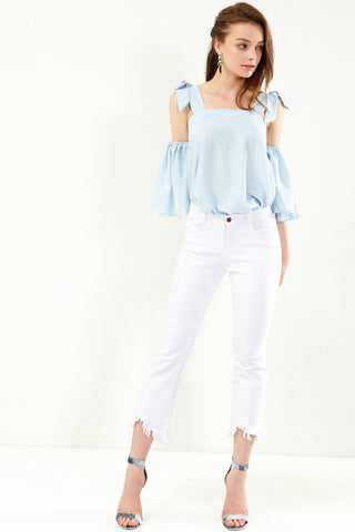 Stella White Frayed Jeans