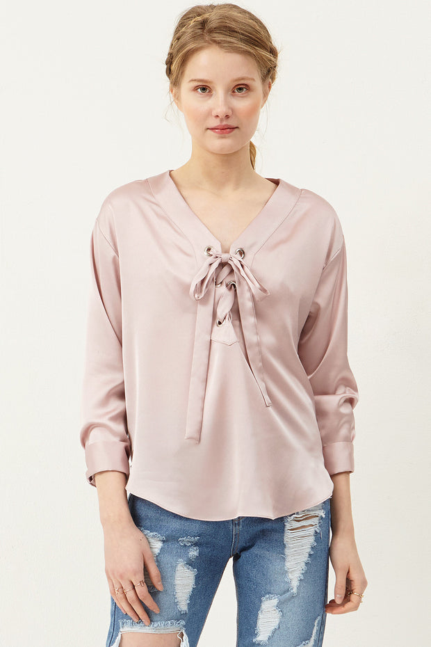 Christina Eyelet Satin Blouse