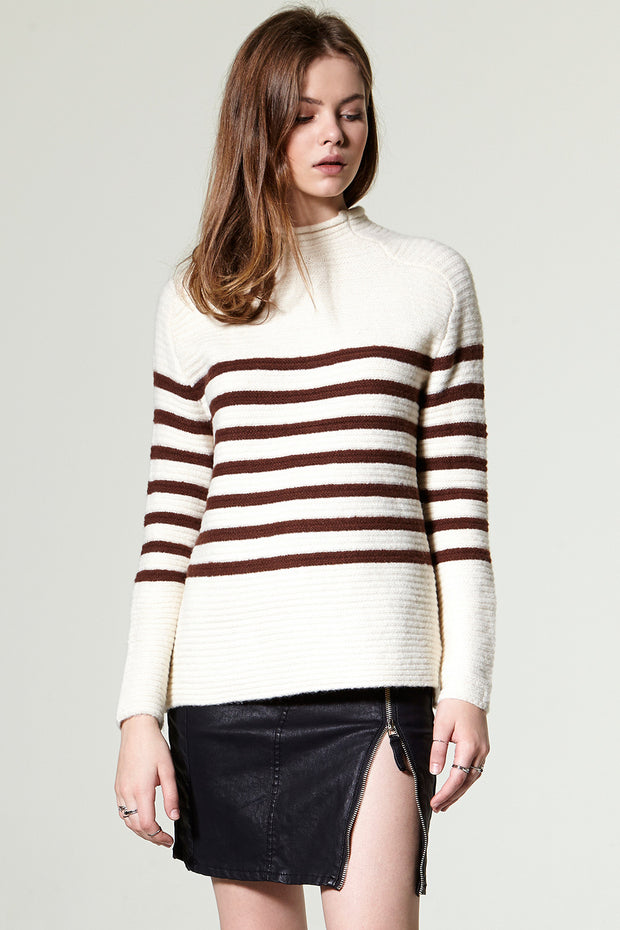Gina High Neck Stripe Pullover