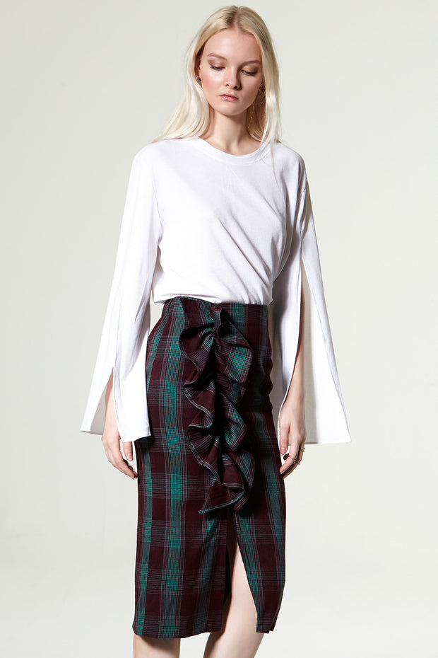 Tecy Check Ruffle Skirt