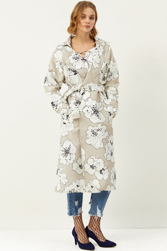 Janet Flower Printed Trench Coat