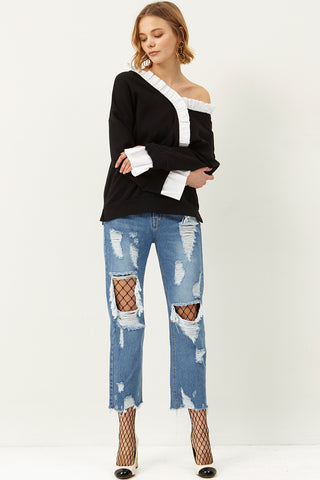 Eliyah Cut Out Denim Pants