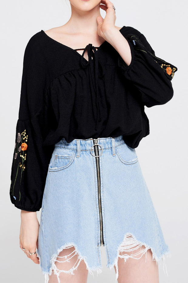 storets.com Pippa O Ring Zipper Denim Skirt