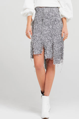 Riley Fringed Tweed Skirt