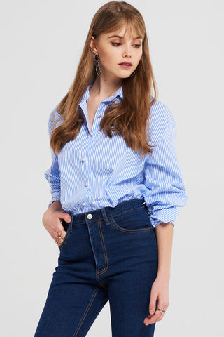 Sally Pearl Buttons Striped Shirt