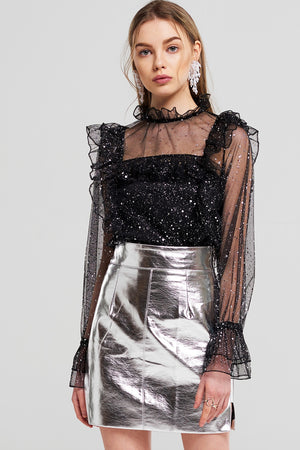 Scarlett Side Cut Out Metallic Skirt
