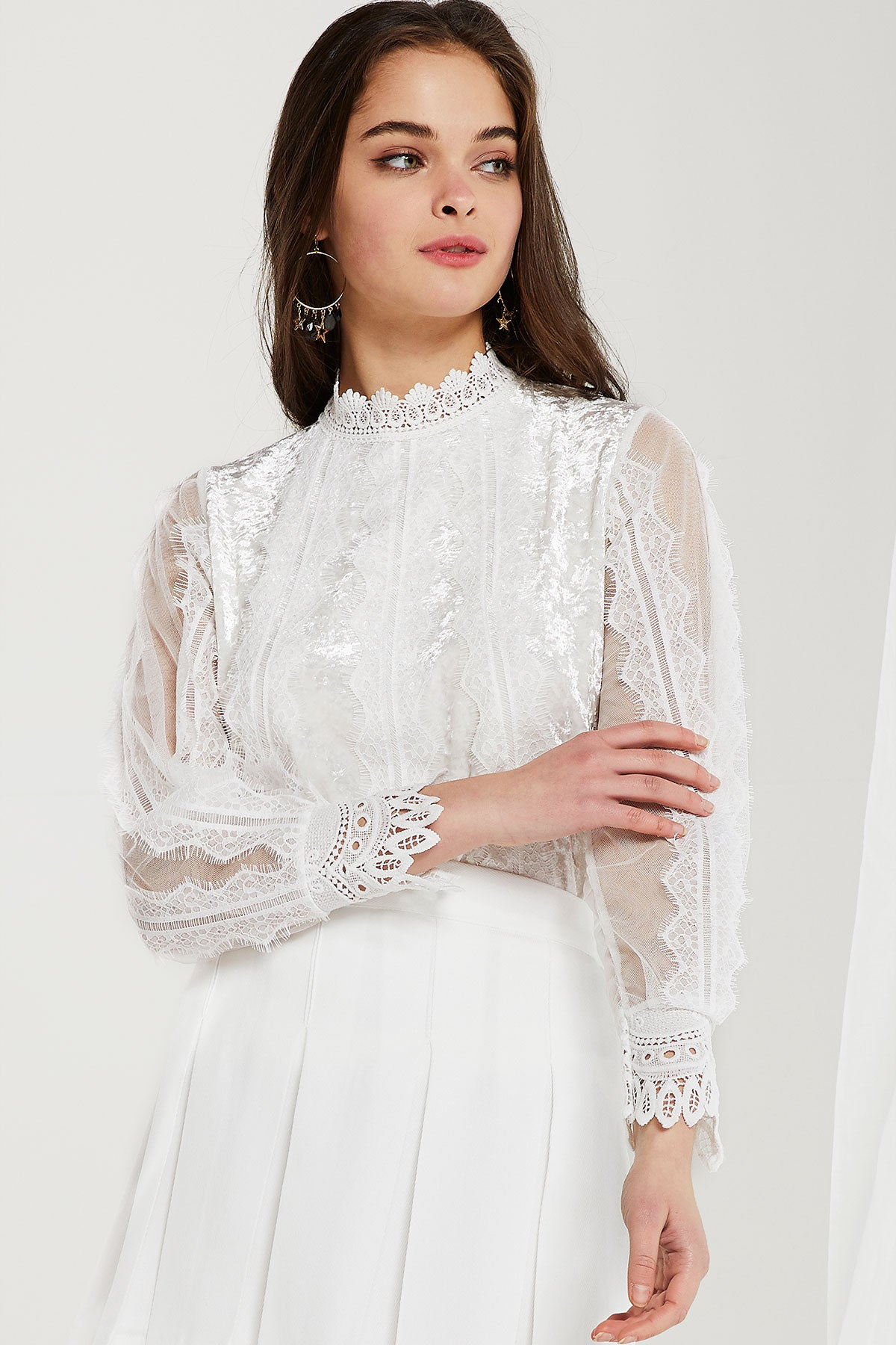 Cady Sheer Lace Paneled Blouse