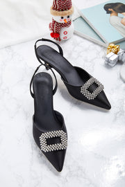 Decorative Buckle Slingback Heels