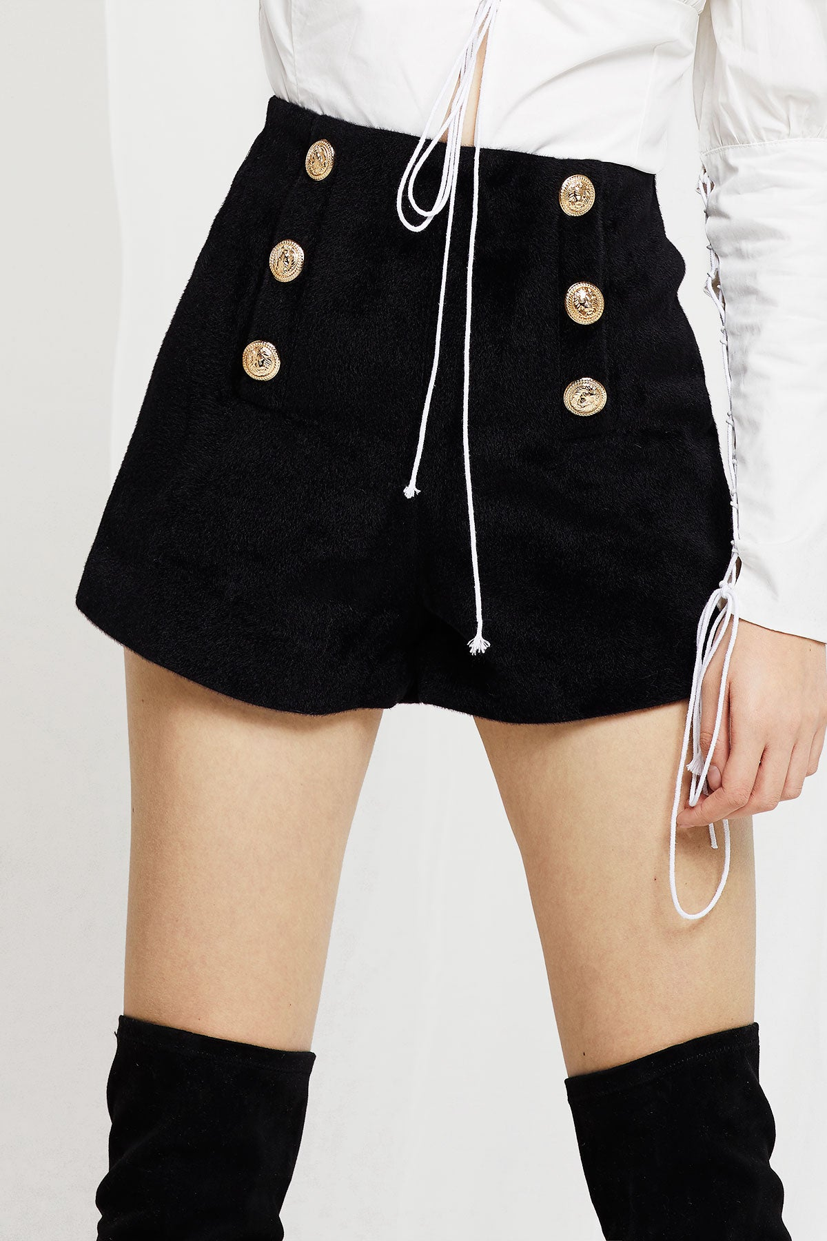 Emily Gold Button Short Pants