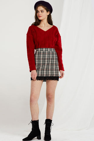 Gabriella Plaid Skirt w/ Lace Trim