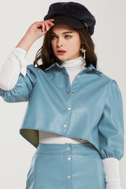 Haley Puff Sleeves Crop Pleather Blouse