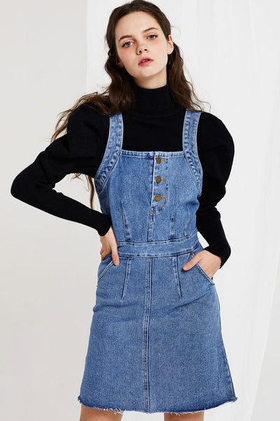 Isabella Denim Pinafore Dress