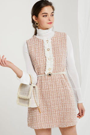 Julie Tiered Ruffle Tweed Dress
