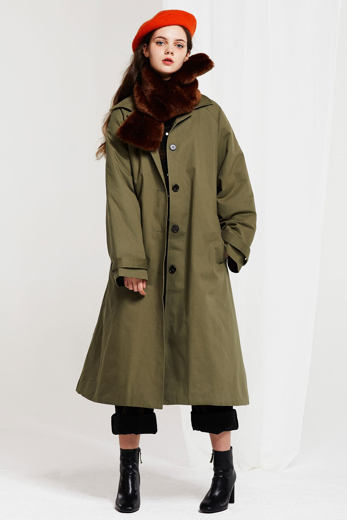 Lillian Padded Coat with Fur Scarf