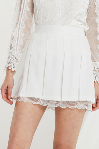Lily Lace Trim Pleated Tennis Skirt