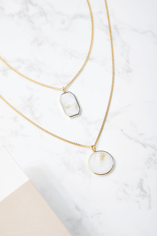 Marble Pendant Layered Necklace