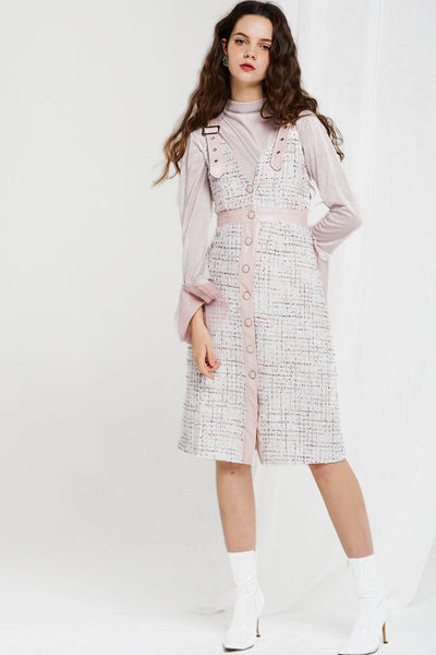 storets.com Moa Metallic Half Neck with Tweed Dress