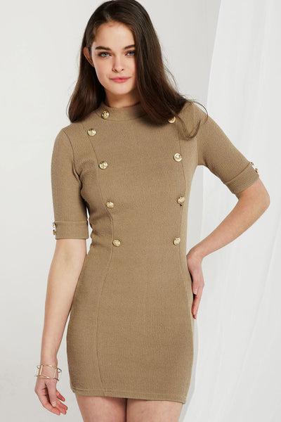Nia High-neck Gold Button Dress