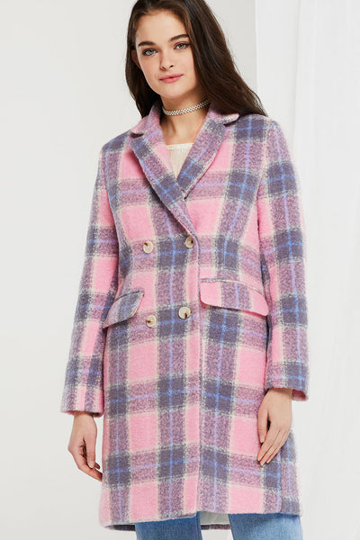 Penelope Double-breasted Plaid Coat in Candy Color
