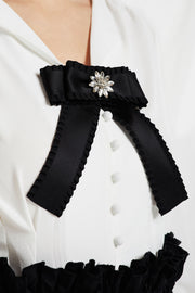 Jewel Accent Bow Tie Brooch