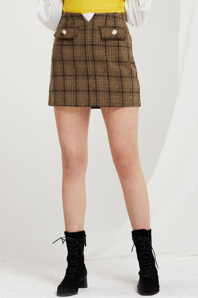 Sarha Flap Pockets Plaid Skort
