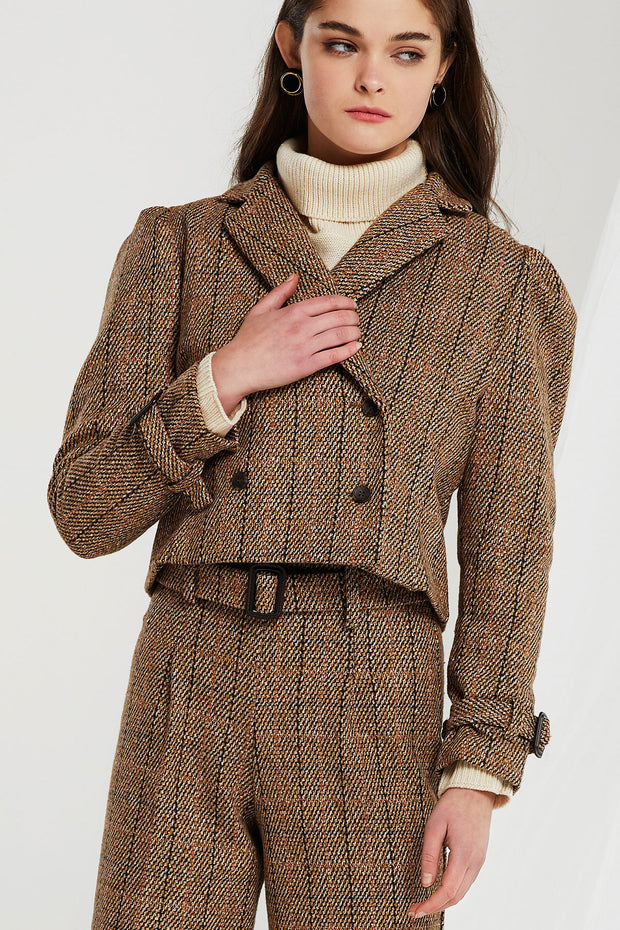 Sujin Puff Sleeves Plaid Jacket