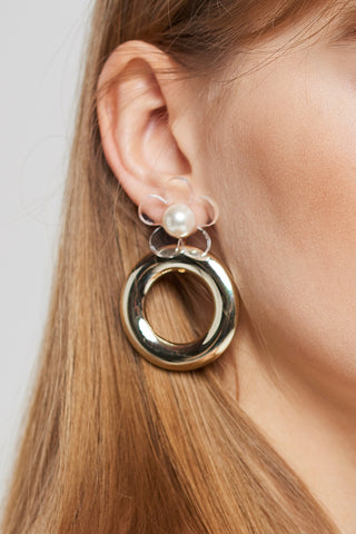 Clear Flower Gold Circle Earrings