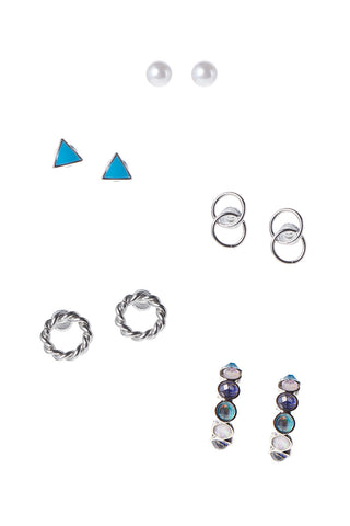 Blue Triangle 5 Set Earrings