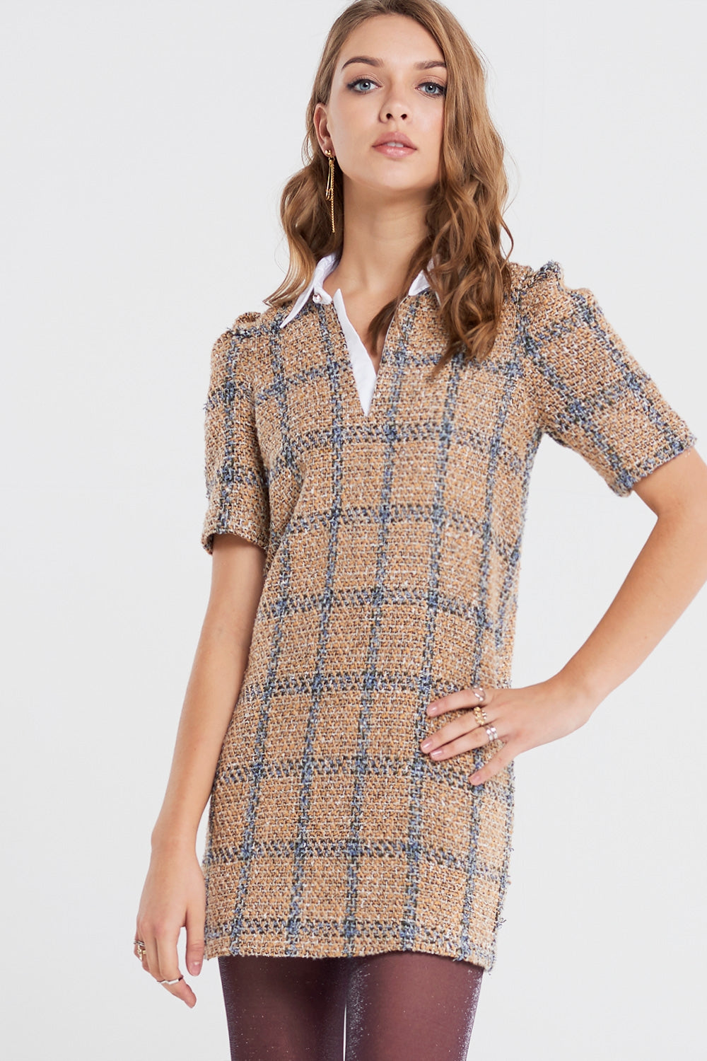 Tina Shirt Collar Tweed Dress