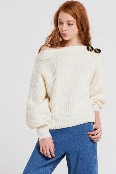 Tonya Off Shoulder Button Top