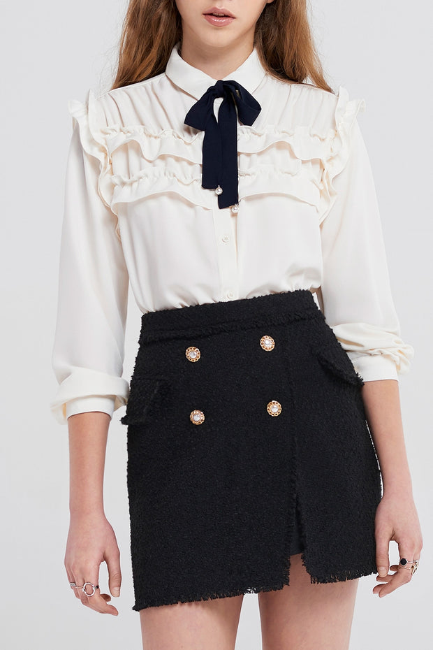 Britney Pearl Button Tweed Classic Skirt