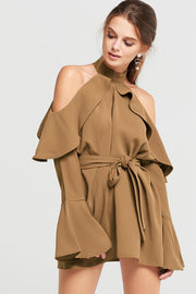 storets.com Yena Ruffle Cold Shoulder Dress