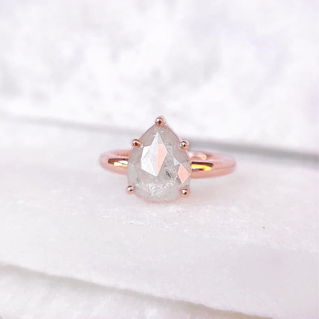 14K Milky Iced Pear Diamond Ring